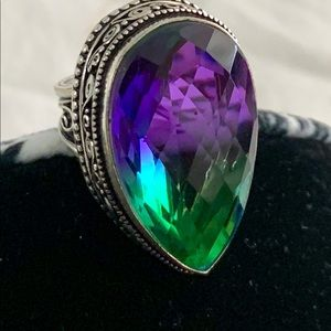 Purple and Green Tourmaline & solid .sterling 925